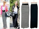 WOMENS LADIES STRIPE BLACK WHITE MONOCHROME MAXI LONG SUMMER JERSEY SKIRT DRESS