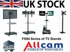 FS94 Series LED/LCD TV Trolley Floor Stand w/ Mounting Bracket & Glass Shelf