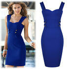 Womens Ladies New Navy Style Offices Casual Mini Bodycon Tea Dress Size 810246