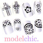 3D Nail Art Stickers Decal Black Lace Flower Bow Heart Purple Rhinestone Crystal