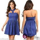 Sexy Womens Halter Neck Hollow Out Backless Casual Party Dress Royal Blue