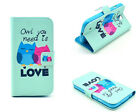 Cute Love Owl Folio Flip Wallet Leather Soft Stand Case Cover For Various phones
