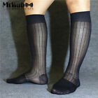 3Pairs Lot Men's 100% Nylon Sheer Socks,Sexy Knee High Long OTC TNT Dress Socks