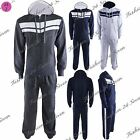 Mens Hooded Jogging Gym Workout Stripes Fleece Sweatpants Hoodie  Tracksuit Set
