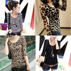 Ladies Sexy Long Sleeve Tops Skinny T-Shirt Crewneck Blouses Bottoming Shirt Hot
