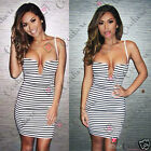 Womens Striped Nautical Monochrome Strappy Plunge Neck Top Bandage Bodycon Dress