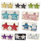 Christmas Tree Decoration 6 100mm Shatterproof Glitter Stars - Choose Colour
