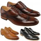 Mens New Black / Tan Brown Leather Lined Smart Fashion Brogues Shoe UK 6 - 13