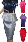New Ladies Glossy 1950's Pinup Rockabilly High Waist Peplum Pencil wiggle skirt