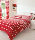 Contemporary Linear Stripe Red & White Duvet Set / Quilt Cover Come in 3 Sizes