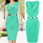 Elegant Women Sleeveless Green Party Cocktail Evening Middle Dress With Belt