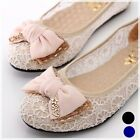 Lacey Bowed Wedding Ballet Flats Ballerina Comfy Padded Shoes BLACK BLUE BEIGE