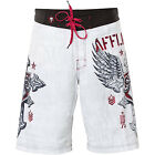 Affliction Men's Return White Red Winged Cross Board Shorts 101BS074