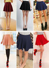 Sexy Womens Stretch Waist Pleated Jersey Plain Skater Flared Mini Skirts From UK