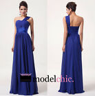 Blue One Shoulder Chiffon Prom Bridesmaid Wedding Maxi Dress Size AU6-20