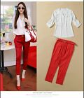 Women summer white V neck loose blouse + red pencil wrap stretchy pants suit