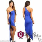 Sexy Juniors One-Shoulder Slit Maxi Dress Evening Clubwear Party Mesh Insets RB