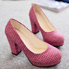Hot Selling Shoes Womens Ladies Round Toe High HEEL Platform Court Pumps UK2.5-6