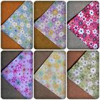 1 x Square Piece Fabric - Flowers - 50cm [Various Colours Available]
