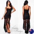 BLACK LACE FISHTAIL MAXI DRESS Bodycon Evening Sexy Long Party Gown Sz 8-18