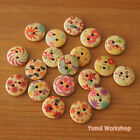 32pcs: Mixed Pattern Round Wood Buttons 2-hole Patchwork Sewing 1/2 inch