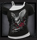 ASCENSION - OFF THE SHOULDER TOP FROM SPIRAL - BLACK/WHITE skull roses goth
