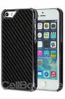 Black Carbon Fibre Chrome Style Case Cover For iPhone 5 5S Screen Protector