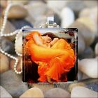 """FLAMING JUNE"" Frederick Leighton GODDESS GLASS TILE PENDANT NECKLACE KEYRING"