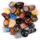 Rune Engraved Lettering Stones Set W/ Free Pouch Wiccan Pagan