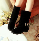 Winter Womens Tassel Decor Hidden Wedge Heel Faux Suede Round Toe Mid Calf Boots