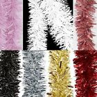 Christmas Tree Room Decoration 2 Metre Tinsel - Red Gold Silver Black White Pink
