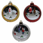 Christmas Battery LED 10cm Light up Rotating Scene Bauble - Red Silver or Gold
