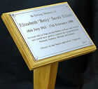 "Grave / Tree Memorial Plot Marker Wooden Stake 8x6"" & Engraved Plaque Headstone"