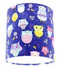 Lampshade Handmade with Blue Pink Yellow Multi Coloured Owl Fabric Many Sizes
