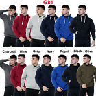 Mens Pullover Hoodie Plain Fleece Sweatshirt Hooded Gym Casual Tops Size S - 6XL