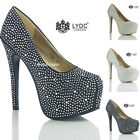 NEW WOMENS LADIES DESIGNER HIGH HEEL EVENING PARTY WEDDING PROM COURT SHOES