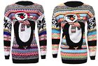 Womens Ladies Xmas Aztec Penguin Print Knitted Long Sleeve Sweater Jumper