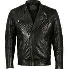 VIPARO Black Slim Fit NZ Lambskin Leather Biker Jacket - Jamie