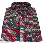 Relco Mens Burgundy Multi Square Long Sleeved Shirt Mod Skin Retro Indie 60s