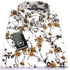 Relco Mens White Floral Long Sleeved Shirt Mod Skin Retro Indie Vintage 60s 70s