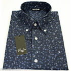 Relco Mens Navy Floral Long Sleeved Shirt Mod Skin Retro Indie Vintage 60s 70s