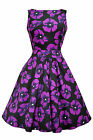 LADY VINTAGE HEPBURN Vampire Violet Poppy TEA DRESS 1950s Retro Style SIZE 8-22