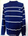 Fred perry Jumper Men's Fisherman Stripe Sweater Knit K4241Medieval Blue X-Large