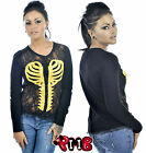Too Fast Lace Front Cardigan Heart Skeleton Ribcage Jacket Punk Goth Cute Horror