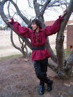 Mens Renaissance Medieval Ruffle Pirate Poet Shirt Burgundy THE WITCH'S SPINDLE