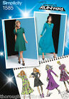 Simplicity 1585 Sewing Pattern Flared Dress Round Neck Contrast Ladies Size 4-20