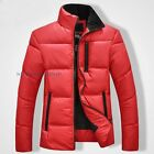 Men Slim Puffer Jacket Coat Quilted Stand Zip Warm Collared Casual Fit Winter