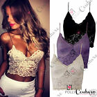 Womens Sexy Lace Bralet Bustier Crop Top Black Nude Purple Party Evening Dress