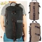 Men's Canvas Outdoor Round Backpack Shoulder Bag Large Capacity Hiking Camping