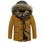 New Men's Down Jacket MD-LONG Heavy Hair Collar Thicken Cotas Casual Parka